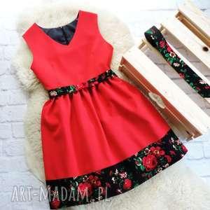 Czerwona sukienka folkowa z motywem ludowych kwiatów , sukienka, folkowa, cleo, folk