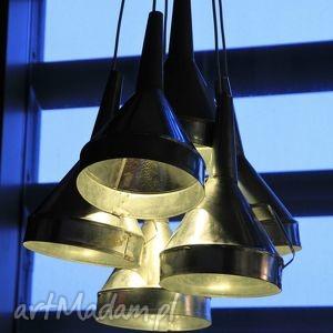 lampa z ocynkowanych lejków, loft, nowoczesny, ocynk, design, lejki, lampa