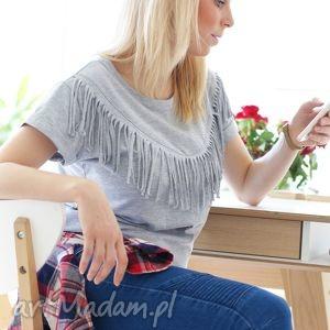 hand-made bluzki unikatowa koszulka bluzka z fajnymi frędzelkami krótki rękaw