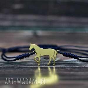 koń - bransoletka, srebro pozłacane, koń, konik, aiwerzę, bransoletka sznurkowa