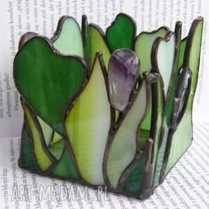świeczniki świecznik zielony z ametystami, witrażowy