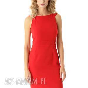 dopasowana sukienka odcięta w pasie czerwona 006, elegancka sukienka