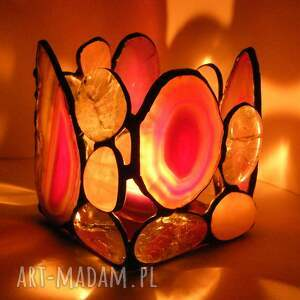 świecznik agat kwadrat różowy, witrażowy, z kamieni