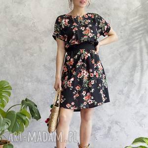 0902dc35c5f272 ręcznie zrobione sukienki sukienka czarna w kwiaty