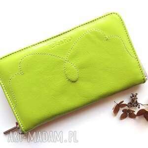 portmonetka skórzana na zamek zielona, portfel, prezent, damski, rękodzieło