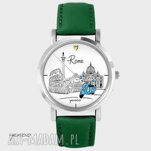 handmade zegarki zegarek - rzym skórzany, zielony
