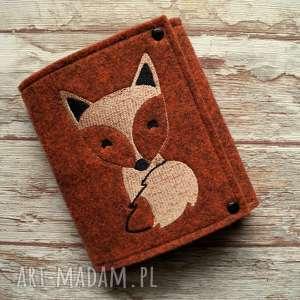 hand-made portfele filcowy portfelik z liskiem