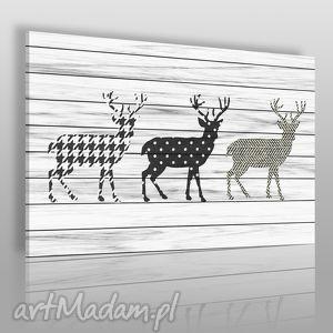 Obraz na płótnie - JELENIE WZORY 120x80 cm (36301), jelenie, skandynawski, deski