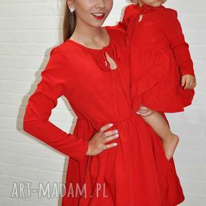 sukienki komplet sukienek grace dla mamy i córki, falbanki, mama córka