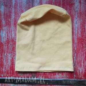 czapka dzianinowa żółta sportowa wiosna codzienna, czapka, dzianina, sportowa