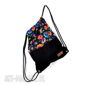 Worek folkowy kolorowy folk, worek, łowicz, kolorowy, plecak, pojemny