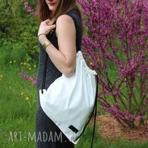 handmade worek plecak biały wodoodporny