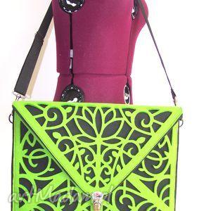 hand made torba na laptopa cut out bag zielona