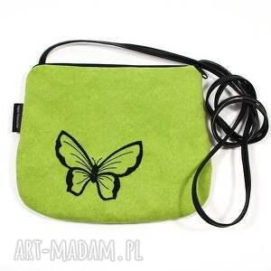 wyszywana minitorebka black on green, mini, torebka, haft, zamsz, wyszywana