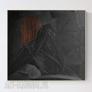 obraz na płótnie z wyjątkową fakturą, duża abstrakcja w ramie, 90 x 100