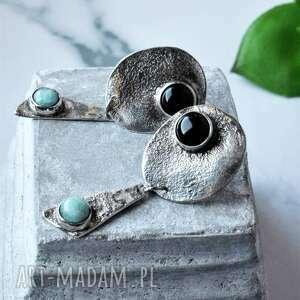 unikalny, kolczyki sztyfty z onyksem, srebro