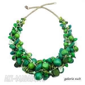 zielono mi - naszyjnik lniany, szmaragdowy, howlit, crackle, drewniane