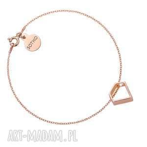 handmade bransoletki bransoletka z różowego złota z przestrzennym diamentem