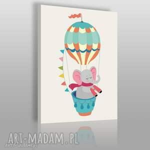Obraz na płótnie - DZIECIĘCY ZWIERZĘ SŁOŃ 50x70 cm (80216), słoń, balon, dziecięcy