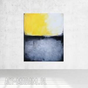 obraz olejny - żółty i grafit