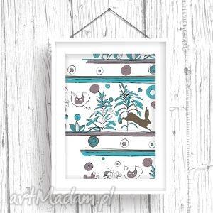 niezwykła łąka 30x40 cm, ilustracja, łąka, folk, ornamenty, dziecko, ściana dom