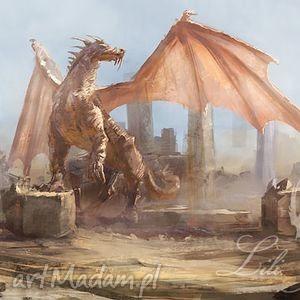 obraz - smok dragon płótno, obraz, smok, dragon, fantasy, malowany, prezent