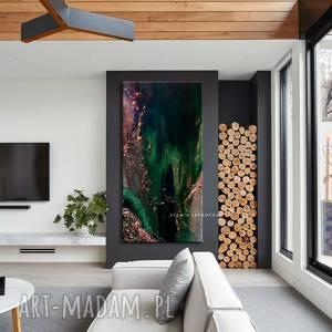 stylowe obrazy do salonu - szmaragd z miedzią, szmaragdowy obraz, abstrakcyjny