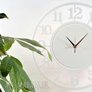 Bezgłośny Zegar 45 cm - wyraźne, duże cyfry, biały, duży-zegar, drewniany-zegar