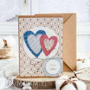 patchworkowe serca kartka ślubna, miłosna, dla nich, prezent