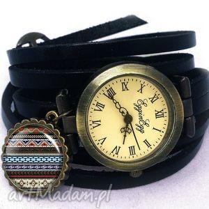 azteckie wzorki - zegarek bransoletka na skórzanym pasku, aztecki