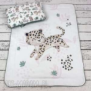 handmade pokoik dziecka zestaw 75x100 kocyk i płaska poduszka gepard