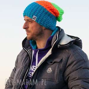 neverland neony jesień zima czapka męska, włóczka
