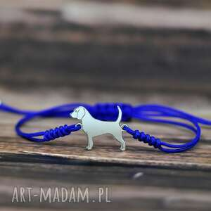 beagle - bransoletka / srebro 925, beagle, pies, dog, sznurkowa