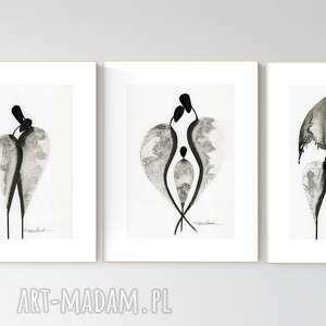 zestaw 3 grafik a4 wykonanych ręcznie, abstrakcja, elegancki minimalizm, obraz