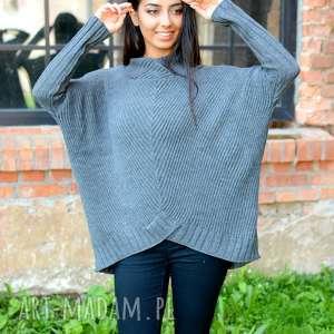 sweter damski szeroki z golfem szary - sweter-grafitowy, sweter-z-golfem, sweter-oversize