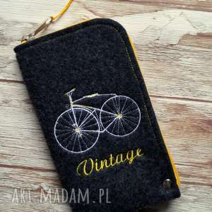 Filcowe etui na telefon - vintage bike happyart etui, retro