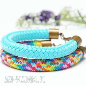 ręcznie zrobione zestaw dwóch kolorowych bransoletek z liny, damskie kolorowe