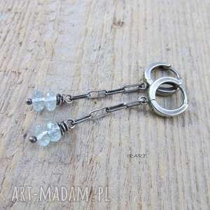 Akwamaryn na łańcuszku - kolczyki irart srebro, oksydowane,