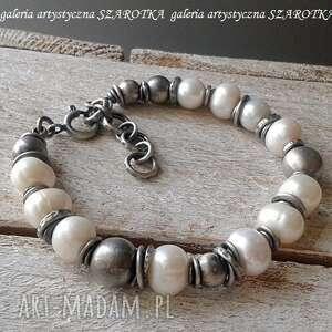 Śmietankowa klasyka bransoletka z pereł i srebra szarotka perła