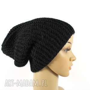 czarna czapka unisex odwijana robiona na drutach, dziergana, odwijana