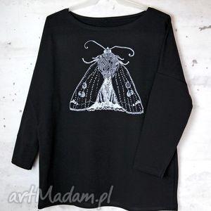 ĆMA bluzka oversize bawełniana L/XL czarna, bluzka, nadruk, ćma, bawełna