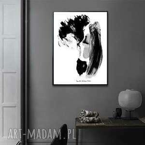 grafika czarno biała w ramie pierwszy pocałunek 30x40, pocałunek