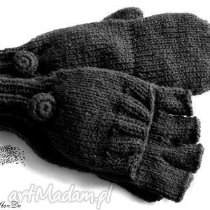bezpalczatki z klapką #4, rękawiczki, mitenki, jednopalczaste, dziergane, wełna