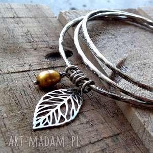 Baroque- 3 bransoletki- srebro i perła., perła, kolory-jesieni, okrągłe-bransoletki