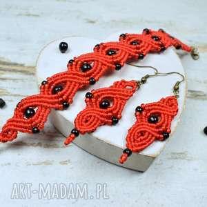 czerwono czarny komplet bizuterii - makrama, biżuteria na prezent