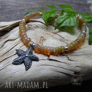 Starfish and Opal, srebro, morska, opal, boho, marynistyczna, rozgwiazda