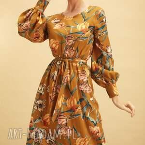 sukienki miodowa sukienka w kwiaty, midi, wiskoza, uniwersalna, rozkloszowana