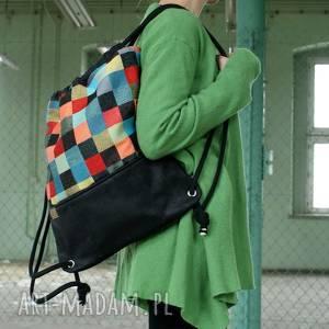 Plecak vegan mozaika czerń, worek, lato, kolor,