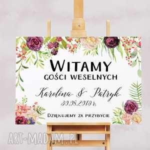 Kwiecisty obraz powitalny gości weselnych 50x70 cm, wesele, ślub, obraz-powitalny