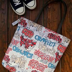 na ramię wodoodporna torba xl - graffiti, torba, wzorzysta, miejska